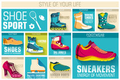 Big illustration collection set of sport shoe Royalty Free Stock Photos