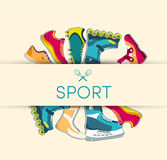 Big illustration collection set of sport shoe Stock Photos