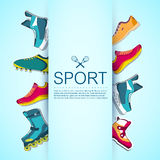 Big illustration collection set of sport shoe Stock Image