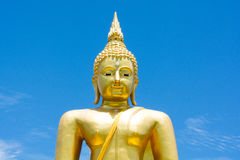 Big image of buddha in thailand and beautiful sky Stock Photos