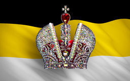 Big Imperial Crown Over Flag Of Russian Empire Stock Photos
