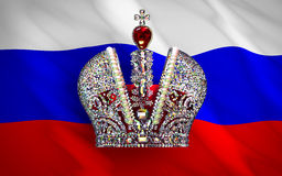 Big Imperial Crown Over Russian Flag Stock Images