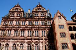 Big, important and historic building with statues in Heidelberg in Germany Stock Images
