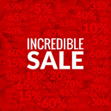 Big incredible sale background with percents pattern on red Stock Photography