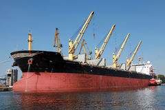 Big industrial cargo ship loading Stock Photography