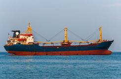 Big cargo ship on the water Stock Images