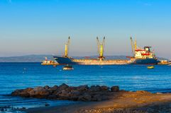 Big cargo ship on the water Stock Image