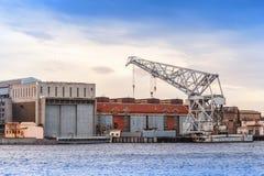 Big industrial floating crane on Neva river Stock Images