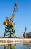 Big industrial harbor cranes works on the river coast Royalty Free Stock Images