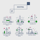 Big industrial icon set with design elements gas, olive, clean, Royalty Free Stock Image