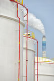 Big Industrial oil tanks in refinery Stock Images