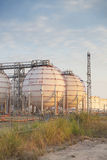 Big Industrial oil tanks in refinery Royalty Free Stock Images