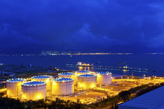 Big Industrial oil tanks in a refinery at night Stock Photography