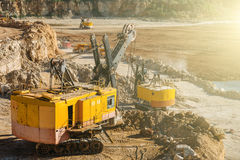 Big industrial vehicles, excavators, quarry equipment concept stock image