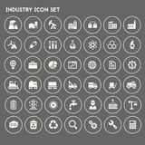 Big Industry icon set. Trendy flat design big Industry icons set on round buttons Stock Photo