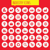 Big Industry icon set. Trendy flat design big Industry icons set on round buttons Stock Photography