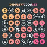 Big Industry icon set, trendy line icons collection. Trendy flat design big Industry icons set on round buttons royalty free illustration