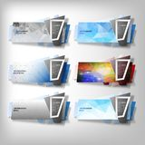 Big Infographic banners set, origami styled vector Royalty Free Stock Photography