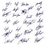 Big Ink Signatures set - group of fictitious contract signatures.  Stock Photos