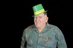 Big Irish Guy. Big Irish Lad ready to party isolated on black Royalty Free Stock Images