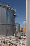 Big irom tanks on a factory Royalty Free Stock Photo