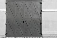 Big iron doors or gate of monochrome tone Stock Images