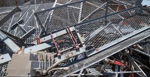 Big Iron grid and ferrous material in the landfill of metallic o Stock Image