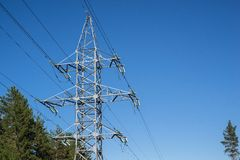 Big iron mast or pylon of a power line Royalty Free Stock Image
