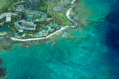 Big Island aerial shot - beach hotel royalty free stock photos