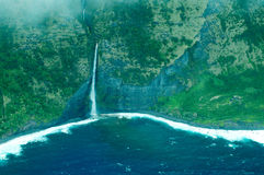 Big Island Aerial Shot - Coast Waterfalls Stock Photos