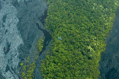 Big Island aerial shot - lava flows Stock Image