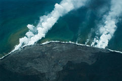 Big Island aerial shot - lava meets ocean Stock Photography