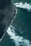 Big Island aerial shot - lava meets ocean Stock Photos