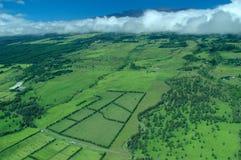 Big Island aerial shot - plantations, Mauna Kea royalty free stock image