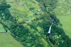 Big Island aerial shot - waterfalls Stock Image