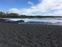 Big Island black sand beach stock image