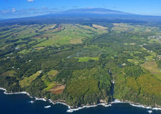 Big Island, Hawaii, an aerial view. Aerial panorama of the Big Island, Hawaii, from snow-capped Mauna Kea (el. 13,803 ft.) to the coast north of Hilo--including Royalty Free Stock Photography