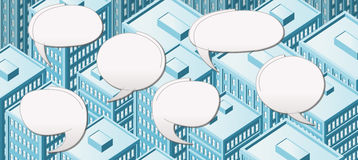 Big isometric city with people talking Royalty Free Stock Images