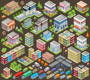 Big isometric set of buildings and houses Stock Photography