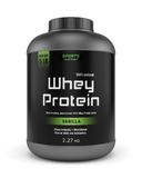 Big jar of whey protein isolated on white. Sports nutrition, bodybuilding supplements: jar of vanilla flavored whey protein isolated on white background vector illustration