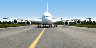 Big jet transporter 3d illustration. Big jet transporter moving on airport runway Royalty Free Stock Photos