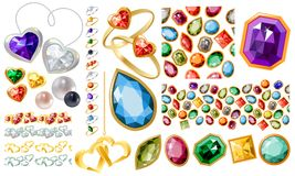 Big Jewellery Set With Gems And Rings Stock Image