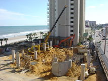 BIG JOB SITE. A LARGE OCEAN SIDE CONSTRUTION SITE Stock Images