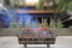 Big joss stick pot in front of the main hall of the temple, Chin Stock Photos
