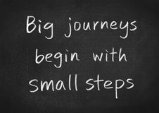 Big journeys begin with small steps. Concept text on blackboard background royalty free illustration