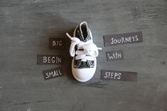 Big journeys begin with small steps. Motivational quote royalty free stock image