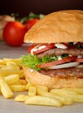 Big juicy double burger with french fries Stock Photos