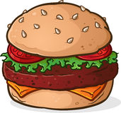 Big Juicy Hamburger Cartoon Royalty Free Stock Photos