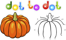 Big and juicy pumpkins. Educational game for kids: connect numbe Stock Images