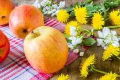 Big juicy red apples near  the flowers Stock Photo